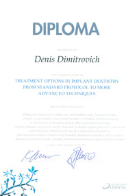 Diploma treatment options in implant dentistry from standard protocol to more advanced techniques Димитрович Д.А.